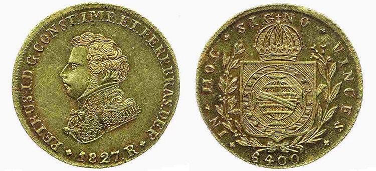 Brazil - D. Pedro I - 6400 Réis 1827 R, VERY RARE