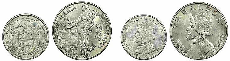 Panama - 2 coins, 1/2, 1 Balboa 1947-53