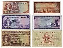 Paper Money  - South Africa 10 Sillings, 1, 5 Rand 1957-ND