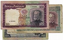 Paper Money - Portugal 3 expl. 50$00 ch 7A, 100$00 ch 6, 100$00 ch 6A 1957-1961