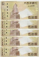 Paper Money - Macau 5 bank notes 50 Patacas 2009