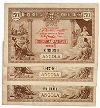 Paper money - Angola 3 expl. 50 Centavos 1923