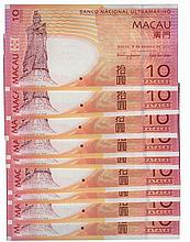 Paper Money - Macau 9 specimens 10 Patacas 2010