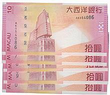 Paper Money - Macau 5 specimens 10 Patacas 2005