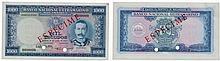Paper money - Mozambique 1000$00 1953, SPECIMEN