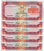 Paper Money - Macau 5 specimens 10 Patacas 2001