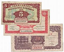 Paper money - Macau 3 expl. 5, 10, 20 Avos 1946