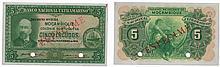 Paper Money - Mozambique 5$00 1945 SPECIMEN