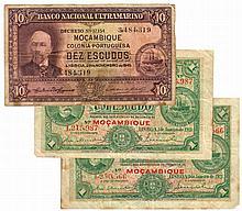 Paper money - Mozambique 3 expl. 1$00, 10$00 1921-1945