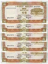 Paper Money - Macau 5 specimens 10 Patacas 1991
