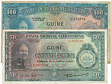Paper money - Portuguese Guinea 2 expl. 50$00, 100$00 1964