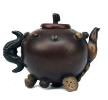 Yixing Mushroom and Nut Pottery Teapot, 19th C.