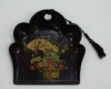 Black Lacquered Dustpan with Asian Scene