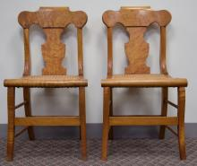 Two Light Wood Cane Seat Chairs