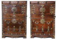A Pair of Asian Chests with Brass Detail, 20th C.