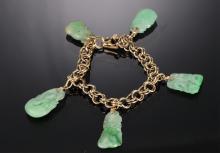 Jadeite Trinket Bracelet w/Gold Links, 19th Cent.