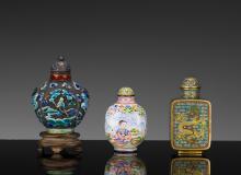 Three Enameled Snuff Bottles, 19th-20th Century