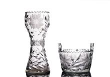 Japanese Cut Crystal Vase and Ice Bucket