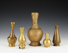 Group of Five Asian Brass Vases
