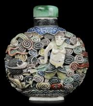 Molded Porcelain Snuff Bottle, 19th Century