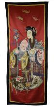 Embroidered God of Longevity Silk Panel