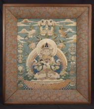 A silk embroidered thangka, 18th/19th century