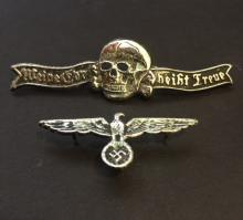Lot of 2 German NAZI Swastika/Skeleton Uniform Pin