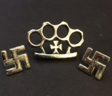Lot of 3 German NAZI Swastika/Brass Knuckles Pins