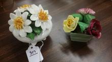 Pair of Antique English Porcelain Flower Baskets