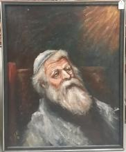 Judaica Oil on Canvas Signed RN '72