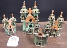 Lot of 4 Hand Made Russian Bronze Mini Churches