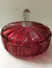 LG Bohemia Cranberry Cut2Clear Crystal Candy Dish