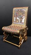 Egyptian Motif Chair, Signed on Back