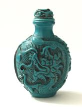 VTG. Carved Chinese Turquoise Dragon Snuff Bottle