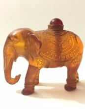 Old Chinese Orange Amber Elephant Snuff Bottle