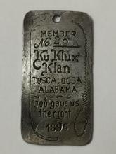 90% Silver - 1896 KKK - Klan Member ID Badge