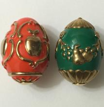 Lot of 2 FABERGE Imperial Russian Porcelain Eggs