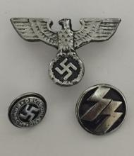 THREE Nazi Germany Swastika Uniform Insignia Pins