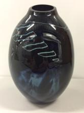 Very RARE Hand Signed BLACK SHEEP Art Glass Vase