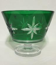 Rare Etch Signed Green WATERORD Crystal Centerpiec