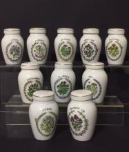 Lot of 10 Rare FRANKLIN MINT Porcelain Spice Jars