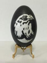 Awesome Genuine Ostrich Egg with Hand Carved Eagl