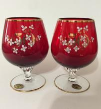 Lot of 2 BOHEMIA Ruby Red Crystal Brandy Goblets