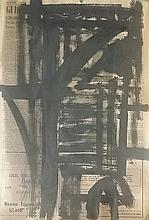 Attributed to Franz Kline Gouache on Newspaper