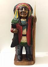 1920's Hand Carved Cigar Store Head Hunter Indian