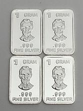 Lot of 4 - .999 Fine Silver 1 Gram Bullion Bars
