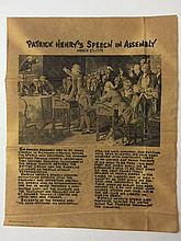 Antiqued 1776 PATRICK HENRY SPEECH in ASSEMBLY