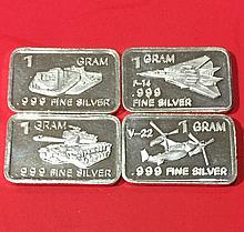 Lot of 4 .999 Fine Silver WW2 Military Bullion Bar