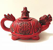 Old Chinese Hallmarked Dragon Turtle Teapot