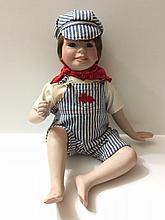 DANBURY MINT Porcelain Train Conductor Baby Doll